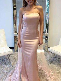 Elegant Pink Satin Mermaid Spaghetti Straps Long Prom/Evening Dress With Tulle and Lace, Beautiful Gowns