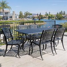Patio Furniture Dining Set,Patio Dining Set,Cayman 7 Piece Dining Set Cast Aluminum Black Sand Outdoor Dining Set