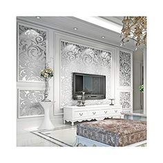 3D Wallpaper For Living Room Silver Wallpaper For Walls, Modern Wallpaper, Home Wallpaper, Wallpaper Roll, Embossed Wallpaper, Paper Wallpaper, Damask Wallpaper, Textured Wallpaper, Wallpaper For Living Room