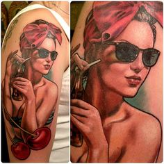 Cherry Cola Pin-Up Tattoo by Nick Morte