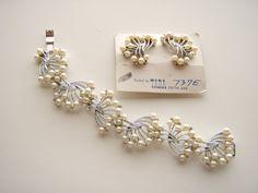 Vintage signed TARA  Faux Pearl Bracelet & Earrings by Jewelrin, $48.00