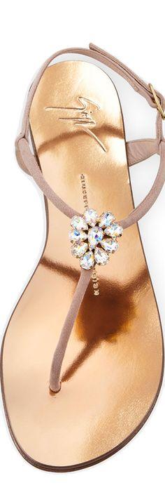 fe0761ed6e7e Giuseppe Zanotti Crystal-Embellished Flat Thong Sandal