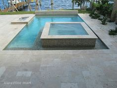Ivory Tumbled Travertine Pool Deck Tiles and Pavers - Modern - Pool - miami - by Travertine Mart