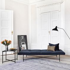 Amazing Daybeds -  Minimal approach. This velvet sofa is the perfect daybed for a minimal room; it's also stylish and very elegant. Add next to it a chic a coffee table and a modern lamp and you will have the perfect scenario for a glam afternoon at home.