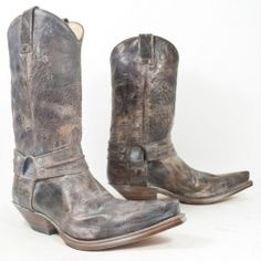 Brown Distressed Cowhide (waxed) With Harness 'Destroyed' Mens Shoes Boots, Biker Boots, Motorcycle Boots, Sexy Boots, Frye Campus Boots, Frye Boots, Men's Boots, Western Boots, Cowboy Boots