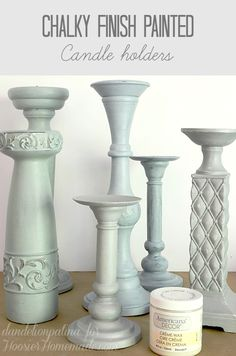 Americana chalky finish candle holders in yesteryear, serene, and vintage. Take a few minutes to transform an outdated home decor piece in your home.