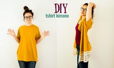 DIY Kimono From a T-Shirt (No-Sew Option)