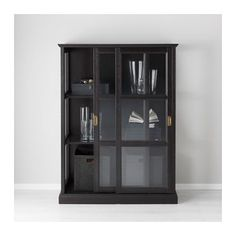 MALSJÖ Vitrineskap - svartbeiset, 105x140 cm - IKEA