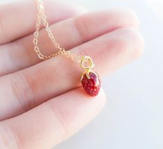 Tiny Strawberry Necklace . 14k gold filled chain . dainty necklace
