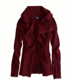 AE Shine Knit Open Cardigan. I love this cardigan in the red color. It looks really warm and comfortable which is something that would be nice to have in the winter