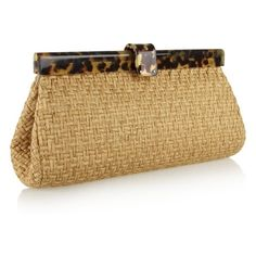 Ralph Lauren Collection Woven-twill and tortoiseshell acetate clutch found on Polyvore