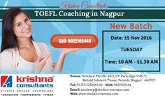 Join TOEFL Coaching @ Krishna Consultants. New Batch starting on 15th Nov, 2016.  For Registration fill this form https://goo.gl/MzEzdA