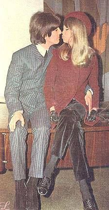 From Facebook Page Patricia Anne Boyd The Muse, George & Pattie Harrison kiss after announcing their happy news.