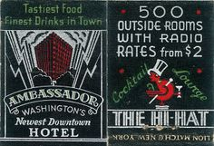Ambassador Hotel washington. #frontstriker #deco To order your Business' own branded #matchbooks and #matchboxes GoTo: www.GetMatches.com or Call 800.605.7331 Today!