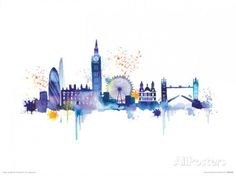 London Skyline Art Print by Summer Thornton at King Painting Prints, Wall Art Prints, Poster Prints, Canvas Prints, Paintings, Skyline Painting, Skyline Art, Skyline Von London, Cityscape Wallpaper