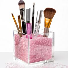 Acrylic Makeup Organizer & Makeup Brush Holders with PINK Diamond Rhinestones. Pink Makeup Brush Organizer Makeup Brush Storage & Cosmetic Brush Organizer. By Pretty Display, The #1 Gift for Girls