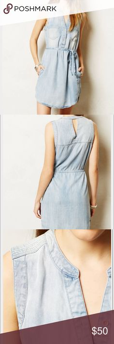 Anthropologie denim dress, size 4 Holding Horses Ballard Chambray denim dress from Anthropologie. Size 4. Side pockets. Drawstring back with ties that can be tied in the front or back. Extremely soft material. Great condition! Anthropologie Dresses