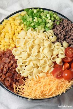 Bacon ground beef cheese and hot sauce make this Cowboy Pasta Salad a definite crowd pleaser! Perfect for summer get togethers. Bacon ground beef cheese and hot sauce make this Cowboy Pasta Salad a definite crowd pleaser! Perfect for summer get togethers. Pasta Salat, Clean Eating, Healthy Eating, Cooking Recipes, Healthy Recipes, Cooking Games, Healthy Meals, Yummy Recipes, Dinner Healthy