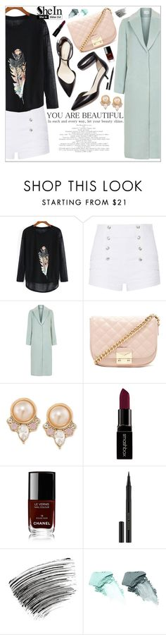 """""""Beautiful: Black Long Sleeve Feather Print Loose T Shirt"""" by arrow1067 ❤ liked on Polyvore featuring Pierre Balmain, Topshop, 3.1 Phillip Lim, Forever 21, Carolee, Smashbox, Chanel, Kevyn Aucoin, Bobbi Brown Cosmetics and NARS Cosmetics"""