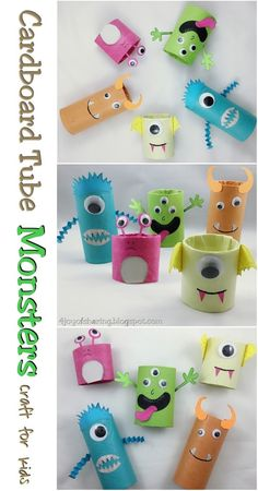 Warming up for Halloween 2017 with these cute little monsters craft. Made using cardboard tubes with my toddler. Cardboard Tube Craft, Kids Craft, Halloween Craft, Crafts for kids, Monster Craft Manualidades Halloween, Halloween Crafts For Kids, Fun Crafts For Kids, Toddler Crafts, Preschool Crafts, Diy For Kids, Activities For Kids, Craft Kids, Preschool Kindergarten
