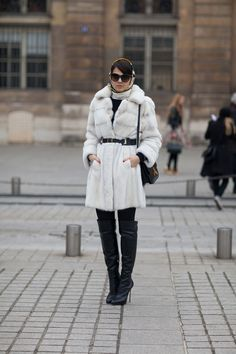 White coat Street Style Paris #Fashion Week Fall 2013 #pfw