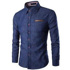 Cheap camisa jeans masculina, Buy Quality men jeans shirt directly from China casual denim shirt Suppliers: New Mens Jean Shirt 2017 Cotton Slim Fit Brand Casual Denim Shirts Long Sleeve Male Cowboy Shirt Camisa Jeans Masculina Size Long Sleeve Shirt Dress, Long Sleeve Shirts, Dress Shirts, Terno Casual, Chemise Slim Fit, Slim Fit Casual Shirts, Slim Jeans, Dark Blue Shirt, Workout Shirts