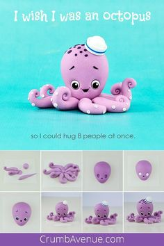 fondant octopus sea ocean figure figurine gum paste cake decorating sugar craft idea clay inspiration how to make step by step free Crumb Avenue Octopus Cake, Cute Octopus, Cake Topper Tutorial, Fondant Tutorial, Cake Decorating Techniques, Cake Decorating Tutorials, Decorating Ideas, Decor Ideas, Fondant Animals