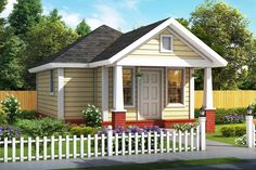 House Plan 61482 - Cottage , Traditional , House Plan with 412 Sq Ft, 1 Bed, 1 Bath Bungalow House Plans, Tiny House Plans, House Floor Plans, Small Cottage House Plans, Cottage Homes, Cottage Style, Cozy Cottage, Home Still, Small Cottages