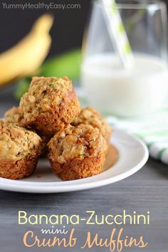 Healthy Banana-Zucchini Mini Crumb Muffins - Perfect for breakfast or a healthy snack! DessertNowDinnerLater.com