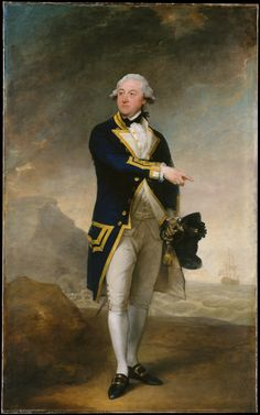 """In 1785 the British naval officer John Gell (1738–1806) had just completed his duty on the seventy-gun Monarca, which he had commanded in a series of battles against the French. For this portrait, Stuart used as a model Sir Joshua Reynolds's heroic """"Commodore Augustus Keppel"""" (1752; National Maritime Museum, Greenwich, UK)"""