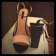 ZARA two toned heels / sandals with ankle strap 10 ZARA two toned heels / sandals with ankle strap - size 41 - just an FYI, I normally wear a 10 Zara Shoes Heels