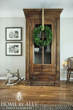 Beautiful large antique wood cupboard on Home by Ally      Friday Favorites at www.andersonandgrant.com