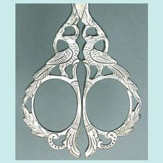 Ornate Antique Steel Birds Embroidery Scissors * German * Circa 1890 - Peacocks.