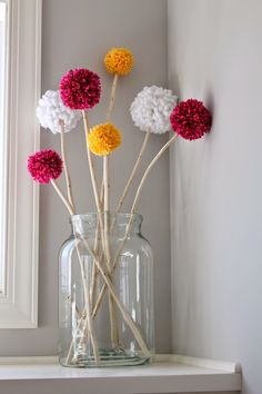 Apr 30 Mantel Decor with Pom Pom Truffula Trees Pom poms make me happy. Not only are they cheap and super easy to make, but they make me smile every time. Diys, Diy Crafts Hacks, Diy Home Crafts, Diy Crafts To Sell, Kids Crafts, Creative Crafts, Preschool Crafts, Tree Branch Centerpieces, Branch Decor