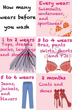 How often you should be cleaning your clothing! Don't wash too often, or it'll wear out.