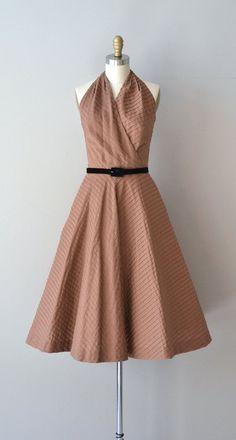 Xocolata halter dress / cotton 1950s dress / vintage by DearGolden: Dress Vintage, 1950'S Dresses, Vintage Dresses, Cotton 1950S, Beautiful Dresses, 1950 S Dresses, Vintage 1950S Dresses, Halter Dresses