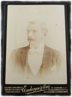 Cabinet Card Photograph of of a Mustached Young Man by Tiddalik