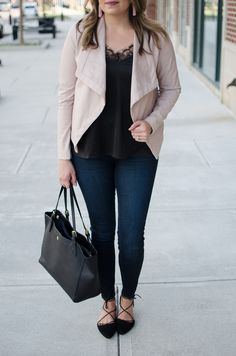 blush and black outfit - black lace camisole with blush leather jacket | Click through for more casual outfits or to shop this look! www.bylaurenm.com