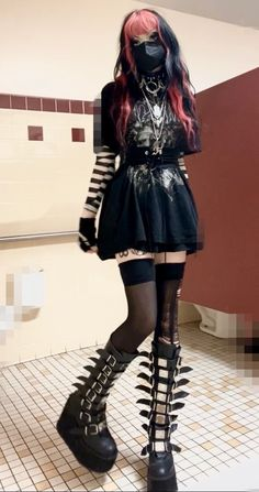 Gothic Outfits, Edgy Outfits, Grunge Outfits, Pretty Outfits, Cool Outfits, Egirl Fashion, Grunge Fashion, Fashion Outfits, Aesthetic Grunge Outfit