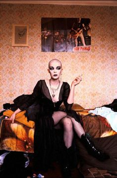 Goth woman in 1983, photo by Peter Jordan