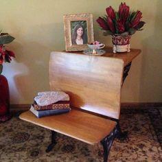 Antique cast iron and wood school desk