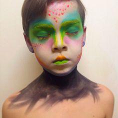 Kids Facepaint Makeup Fantasy Alien Blue Eyeshadow Boys Haircut