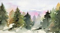 Original watercolor Forest Mountains art painting Pine trees Home cottage decor by bluepalette (20.00 USD) http://etsy.me/11mNDlr