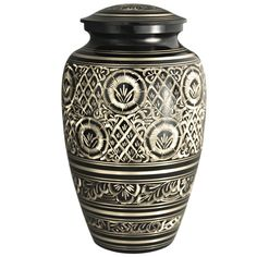 Funeral Urn by Meilinxu - Cremation Urn for Funeral Ashes Adult and Pet Memorials Urn - Hand Made in Brass - Hand Engraved - Large Cremation Urns for Adults Burial or Animal Urns (Rings of Love Urn *** Trust me, this is great! Click the image. (This is an amazon affiliate link. I may earn commission from it)