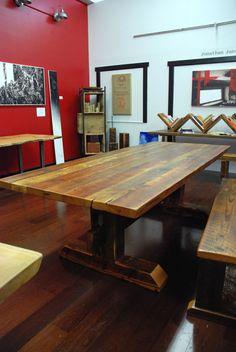 Reclaimed Timber-Frame Trestle Table, Farm Table. $1,895.00, via Etsy.