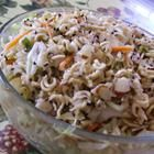 Asian noodle salad-An overnight salad using ramen noodles, cabbage, chicken, almonds, and green onions. This is GREAT -- one of my husband's favorites and it serves a ton of people. Try substituting cashews for almonds and a dash of sesame oil for sesame seeds.""