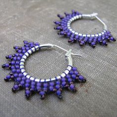 Purple Hoop Earrings Seed Bead Hoop Earrings Boho by windyriver, $15.00