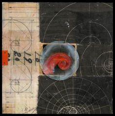 "Distance + Observation Series # 5, 11"" x 11"" mixed media assemblage Graceann Warn"
