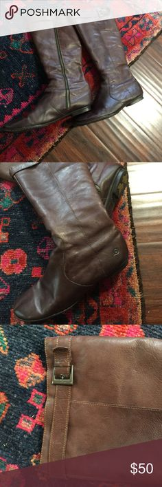 Born tall boots womens 43, soft brown leather Beautiful soft brown leather Born tall boots, zip in inside and buckle on top, size womens 11 or 43, would fit well for medium to wide foot or calf, I love these but I wear 10.5-11 narrow and these were a little big, worn one season but still in great shape, see photos for close pics, almost flats (see photo) Born Shoes Heeled Boots