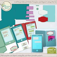 Cell Phone Gift Card Holder Printables, Template and Digital Cutting File Set